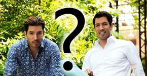 Johnathan and Drew Scott with a question mark